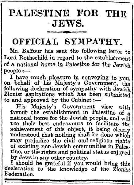 Balfour Declaration in the Times_1917.11.09