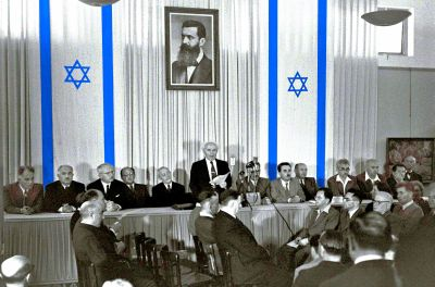 David Ben-Gurion reads The Declaration of the State of Israel, 1948.05.14
