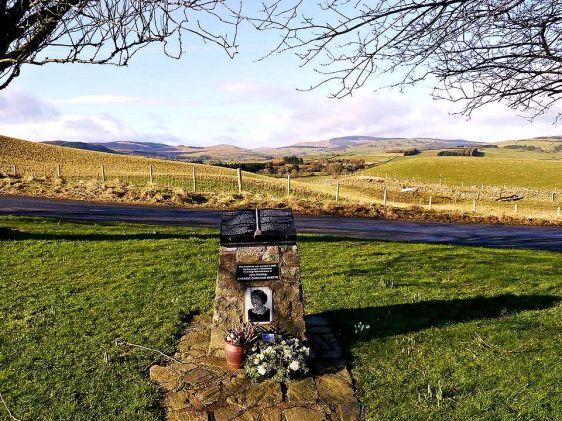 Memorial marker honoring Jane Haining at Dunscore Parish Church, Scotland.