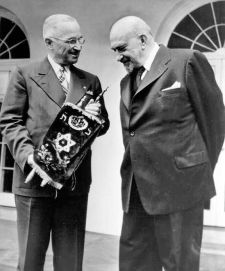 President Harry Truman receives a Torah Scroll from Dr. Chaim Weizmann.