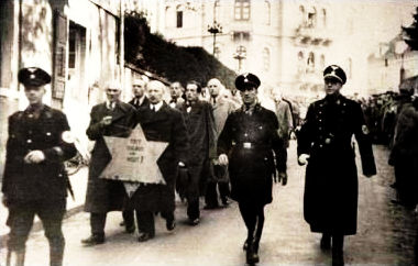 2_Jews forced to march with star on Kristallnacht.