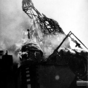 8_Synagogue of Siegen, Germany, in flames during Kristallnacht, November 9/10/1938