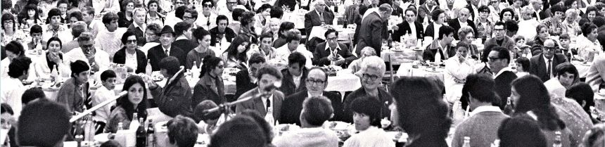 Detail: Passover Seder for 1,500 people held in the decorated sports hall at Kibbutz Na'an, April 9, 1971
