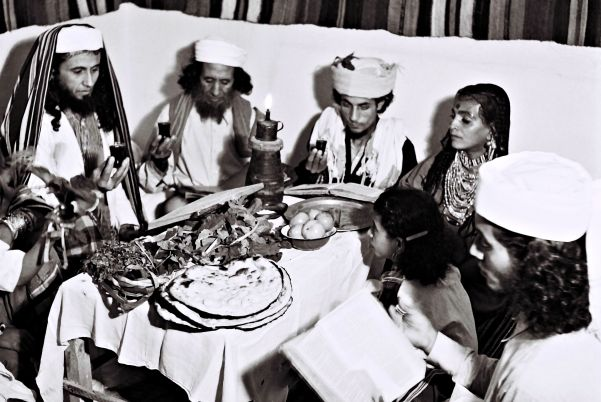 A Yemenite Habani family celebrating Passover in their new home in Tel Aviv, April 1, 1946