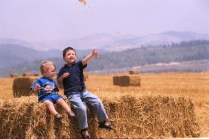 3_The Shavuot holiday in Israel - Children sit on a pile of hay in a wheat field
