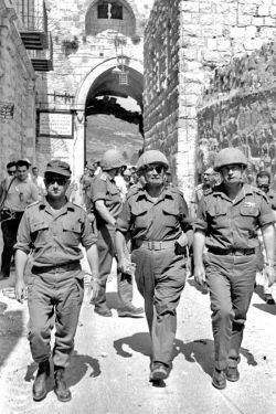 Chief of Staff Lt. Gen. Yitzhak Rabin in the entrance to the old city of Jerusalem during the Six Day War, with Moshe Dayan and Uzi Narkiss. (Photo by Ilan Bruner אילן ברונר Government Press Office, Israel)