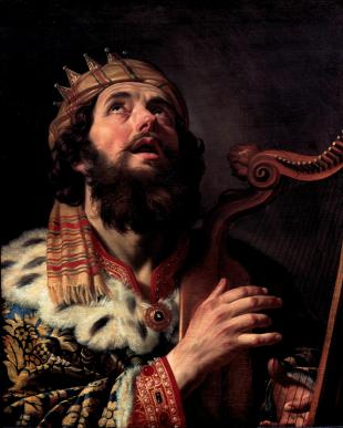 King David Playing the Harp. By Gerard van Honthorst