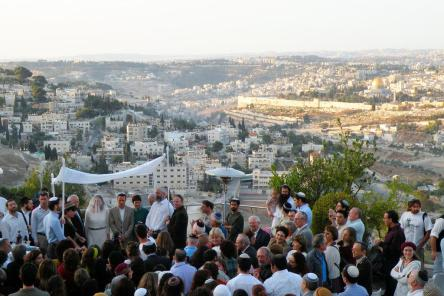 Detail: Wedding at Sunrise on Mount Scopus in front of the Temple Mount
