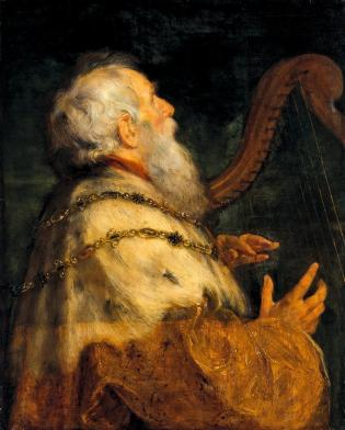 King David playing the harp. By workshop of Peter Paul Rubens
