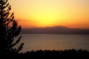 Sea of Galilee with Tiberias in the distance viewed from Ramot Resort Hotel. Charles E. McCracken Archives © 2013